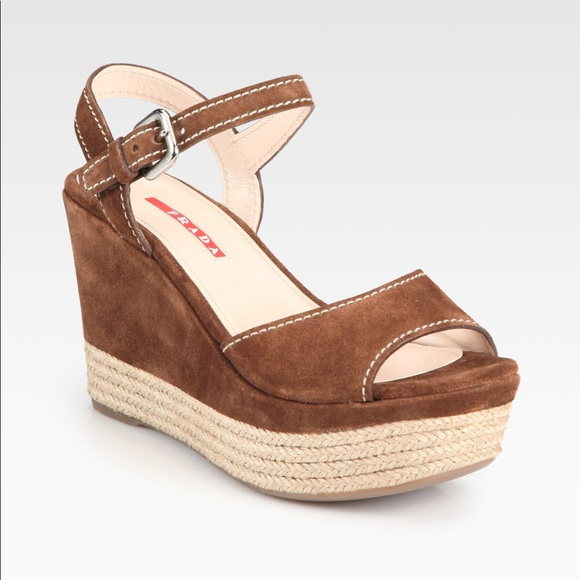 Prada Suede Espadrille Wedges Inexpensive cheap online reliable cheap online xGylzf